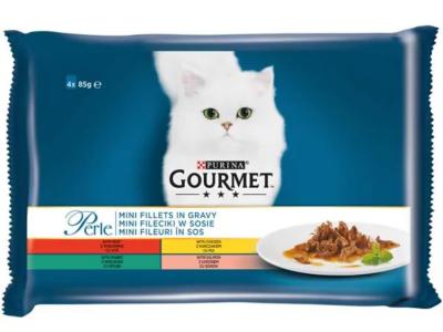 Hrana umeda pentru pisici Gourmet Perle, Vita/Pui/Iepure/Somon, Pliculete 4x85g