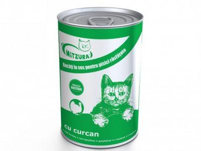 Hrana umeda pentru pisici Mitzura Cat Conserva, Curcan, 415g