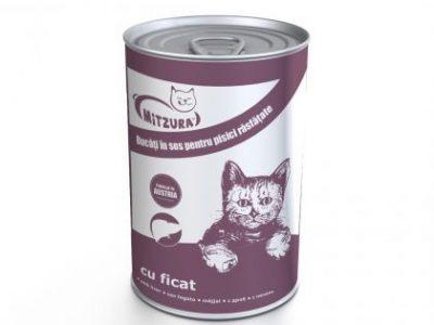Hrana umeda pentru pisici Mitzura Cat Conserva, Ficat, 415g