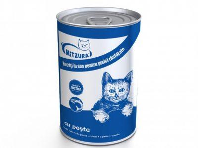 Hrana umeda pentru pisici Mitzura Cat Conserva, Peste, 415g