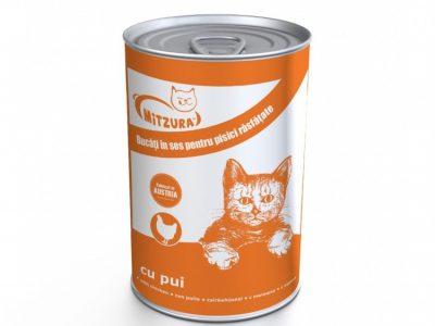 Hrana umeda pentru pisici Mitzura Cat Conserva, Pui, 415g
