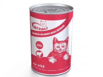 Hrana umeda pentru pisici Mitzura Cat Conserva, Vita, 415g