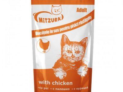 Hrana umeda pentru pisici Mitzura, Pui, Plic 100g