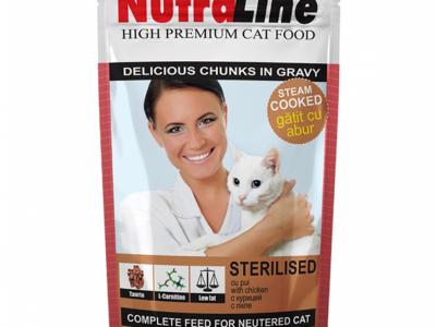 Hrana umeda pentru pisici, Nutraline Sterilised, Plic 100g